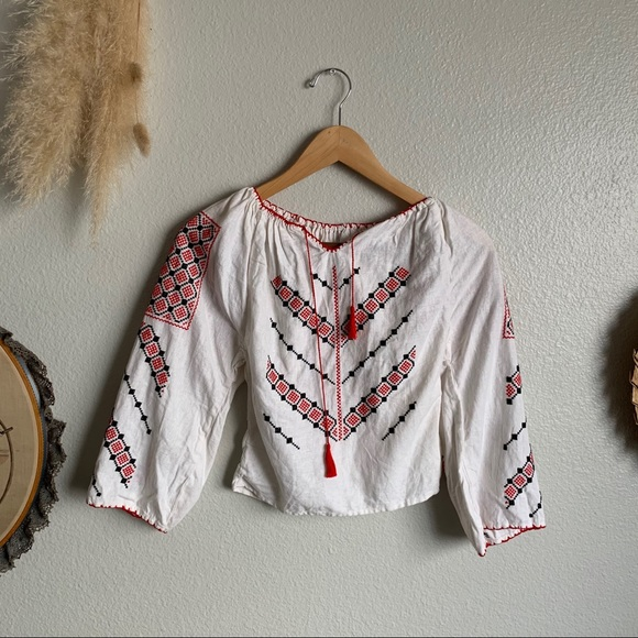 Vintage Kids Hungarian Embroidered Linen Top